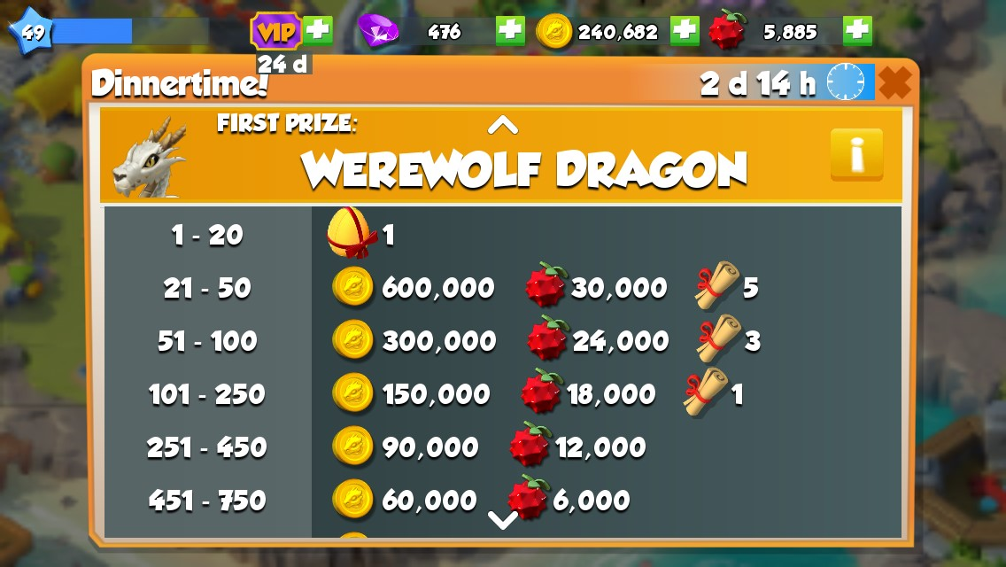 Werewolf is the First Prize in the June 27 Dinnertime! Event.
