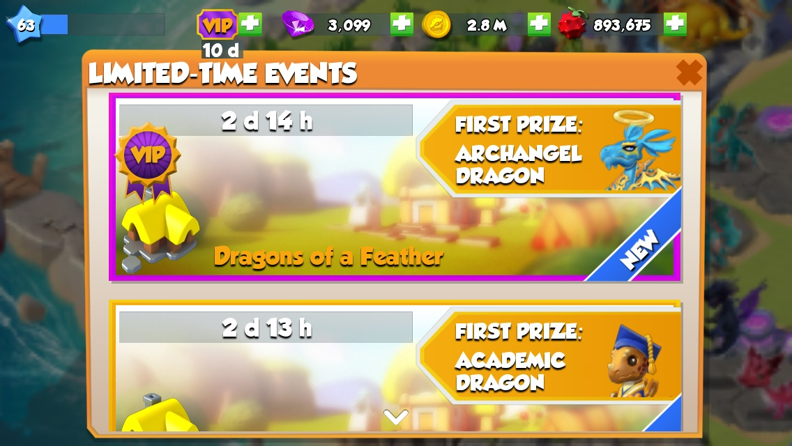 The Archangel dragon is the first prize in this event. You get the